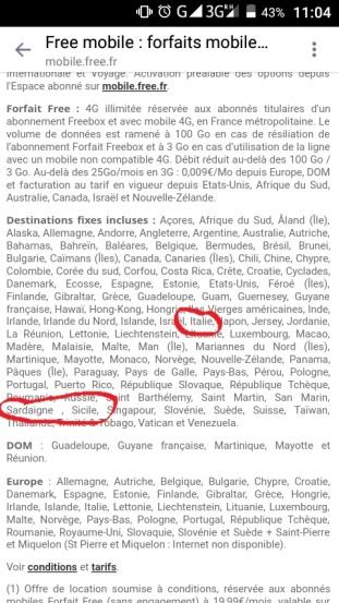 condizioni free mobile francia